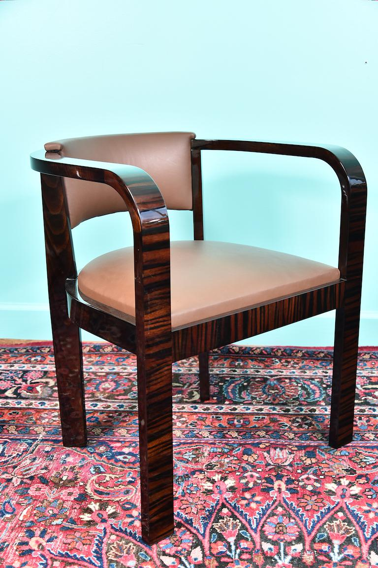 Art Deco French Office Chair in Macassar Wood For Sale 1