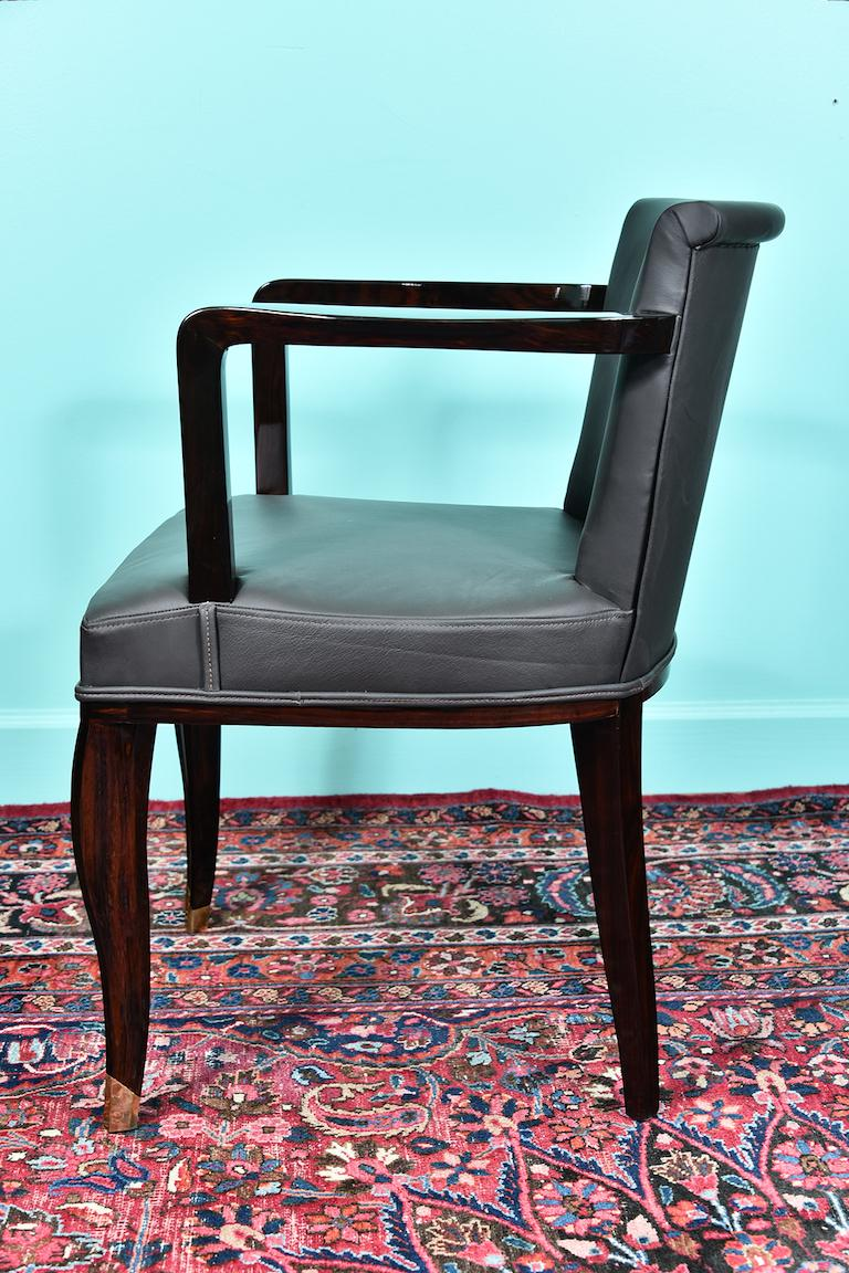 Art Deco French Office Chair in Macassar Wood For Sale 2