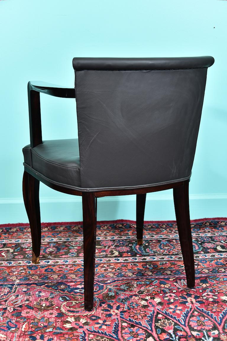 Art Deco French Office Chair in Macassar Wood For Sale 3