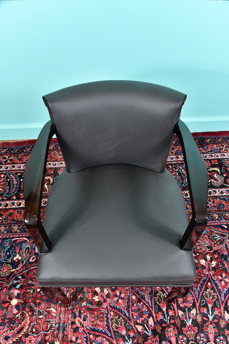 Art Deco French Office Chair in Macassar Wood For Sale 4