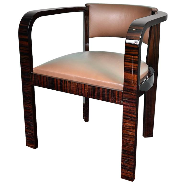 Art Deco French Office Chair in Macassar Wood For Sale