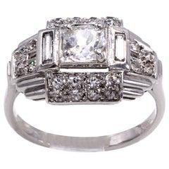 Art Deco French Old European Cut Diamond Platinum Engagement Ring