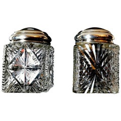 Art Decò French Pair of Cut and Ground Crystal Toilet Jars