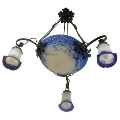 Art Deco French Pate De Verre Ceiling Light by Noverdy