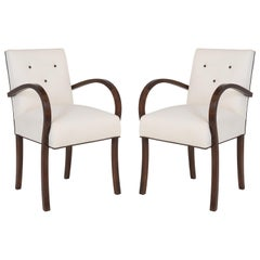 Art Deco French Petite Bentwood Armchairs in Linen, Pair