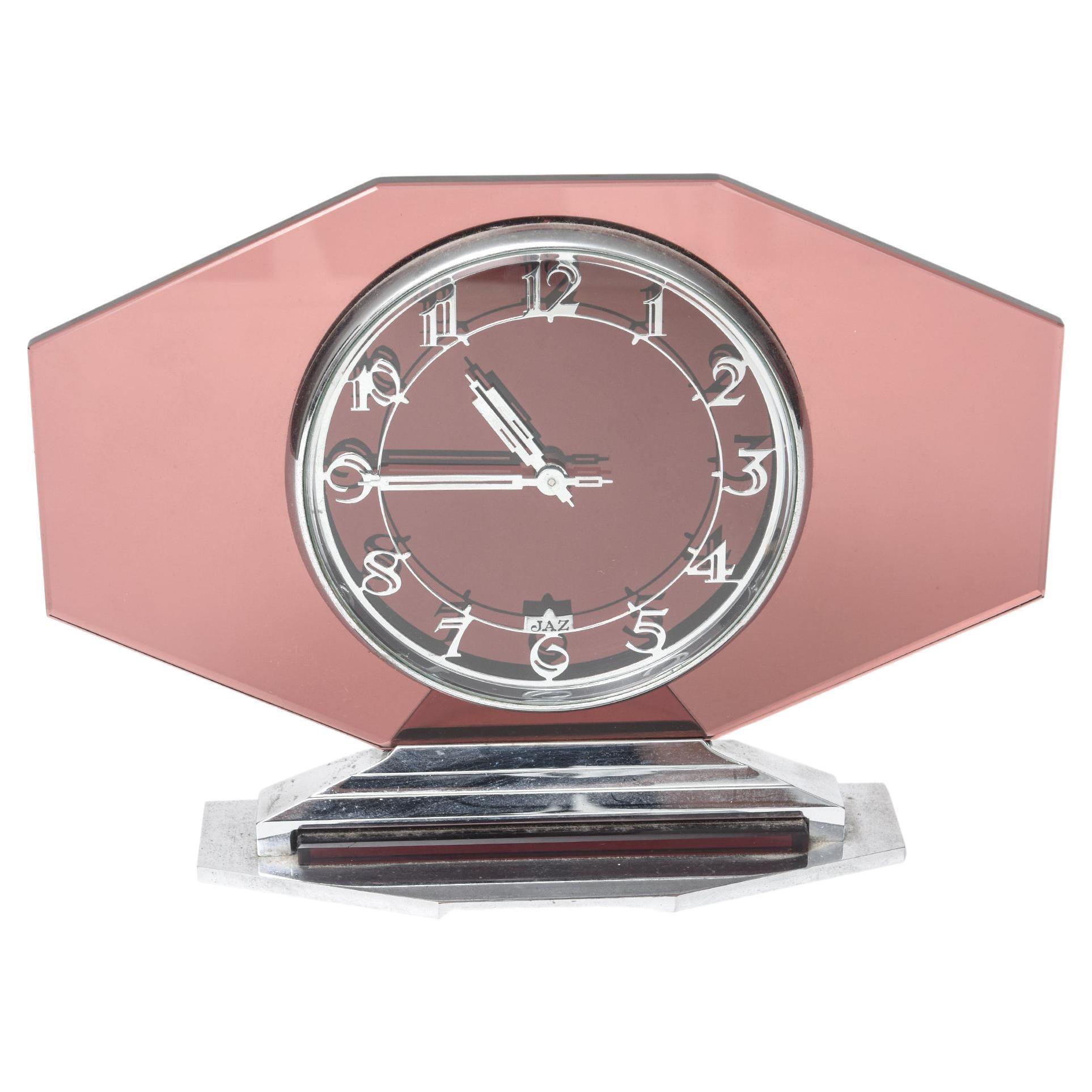 Art Deco French Pink Glass Clock Original 1930's 8-Day by Jaz
