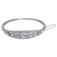 Art Deco French Platinum 9.80 Carat Diamond Bangle Bracelet