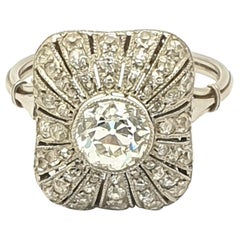 Art Deco French Platinum Diamond Ring
