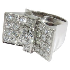 Art Deco French Platinum Gold and Diamond Ring