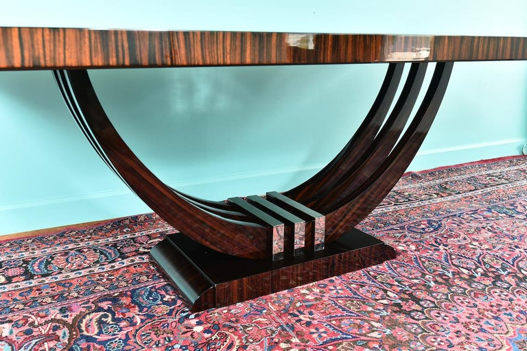Art Deco French Rectangular Dining Table in Macassar Wood For Sale 4