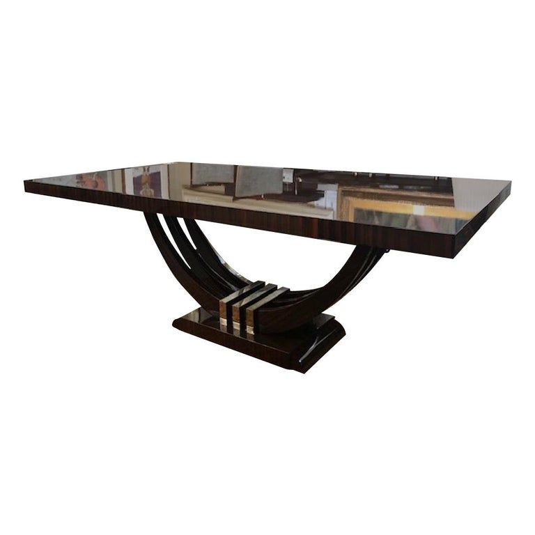 Art Deco French Rectangular Dining Table in Macassar Wood For Sale