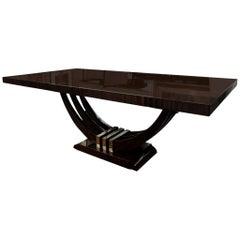 Art Deco French Rectangular Dining Table in Macassar Wood