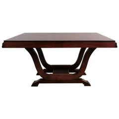 Art Deco French Rectangular Extendable Table in Precious Exotic Wood