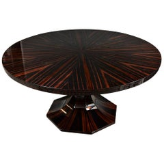 Art Deco French Round Dining Room Table in Macassar with Newly Veneered Top