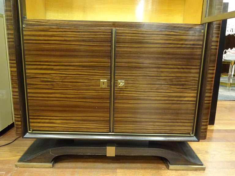 Art Deco French  E.J Ruhlmann Bookcase, Hardwood, Brass and Lemongrass For Sale 12