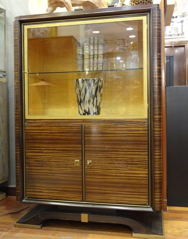 Carved Art Deco French  E.J Ruhlmann Bookcase, Hardwood, Brass and Lemongrass For Sale