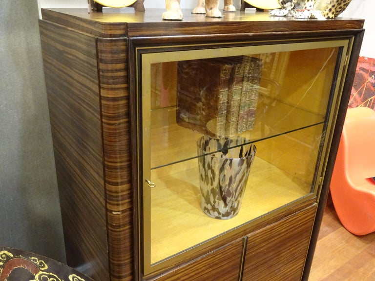 Art Deco French  E.J Ruhlmann Bookcase, Hardwood, Brass and Lemongrass In Good Condition For Sale In Valladolid, ES