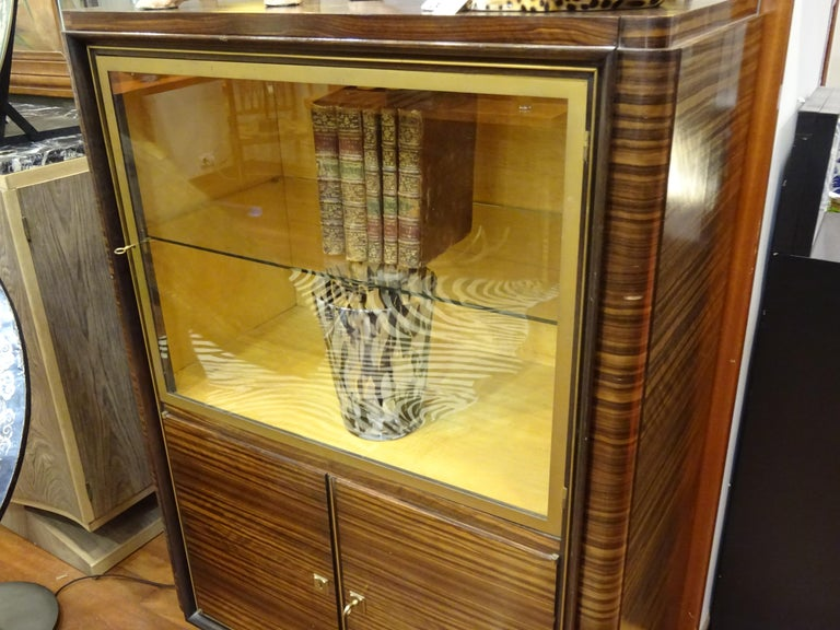 Mid-20th Century Art Deco French  E.J Ruhlmann Bookcase, Hardwood, Brass and Lemongrass For Sale