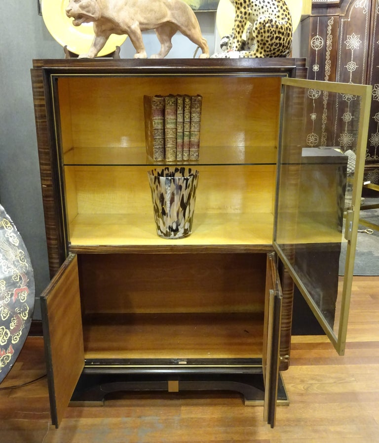 Art Deco French  E.J Ruhlmann Bookcase, Hardwood, Brass and Lemongrass For Sale 1
