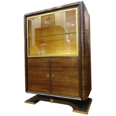 Art Deco French Ruhlman Bookcase, Hardwood, Brass and Lemongrass