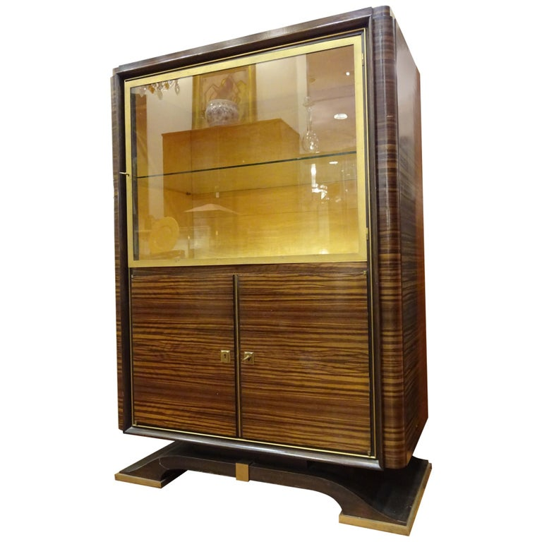 Art Deco French  E.J Ruhlmann Bookcase, Hardwood, Brass and Lemongrass For Sale