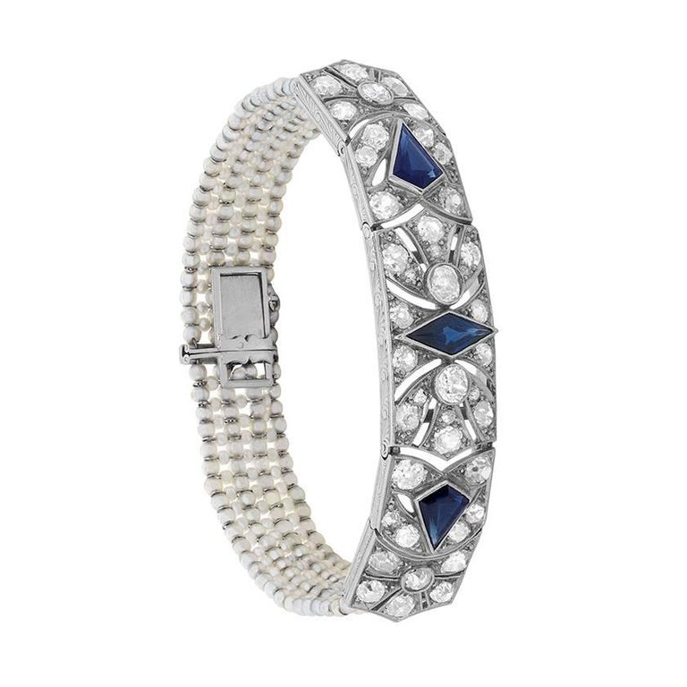 Art Deco French Sapphire, Diamond and Pearl Bracelet, circa 1920s