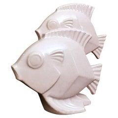 Art Deco French Sculpture of Two Fish in Craquelé Porcelain