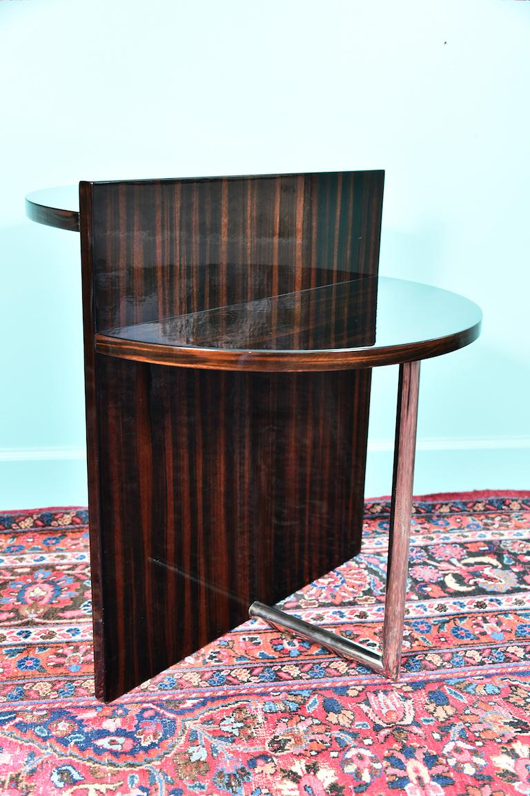 Art Deco French Side Table in Walnut with Chrome In Excellent Condition For Sale In Houston, TX