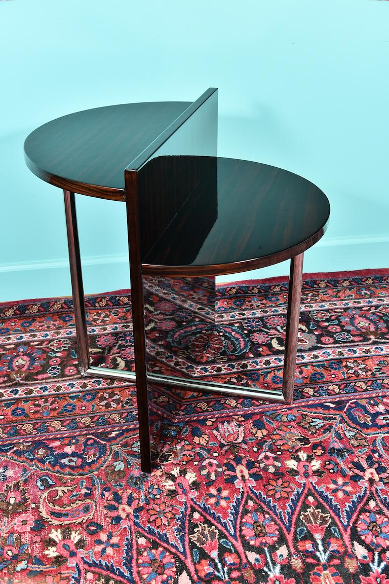 Mid-20th Century Art Deco French Side Table in Walnut with Chrome For Sale