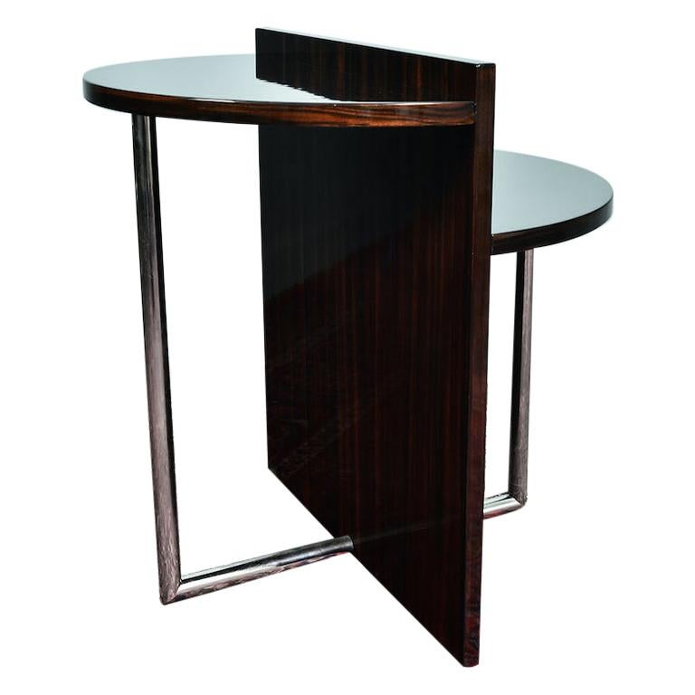Art Deco French Side Table in Walnut with Chrome For Sale