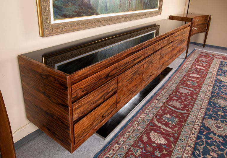 Art Deco French Sideboard in Walnut with Chrome Base In Excellent Condition For Sale In Houston, TX