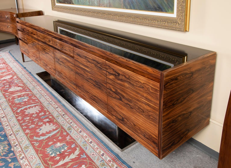 Mid-20th Century Art Deco French Sideboard in Walnut with Chrome Base For Sale
