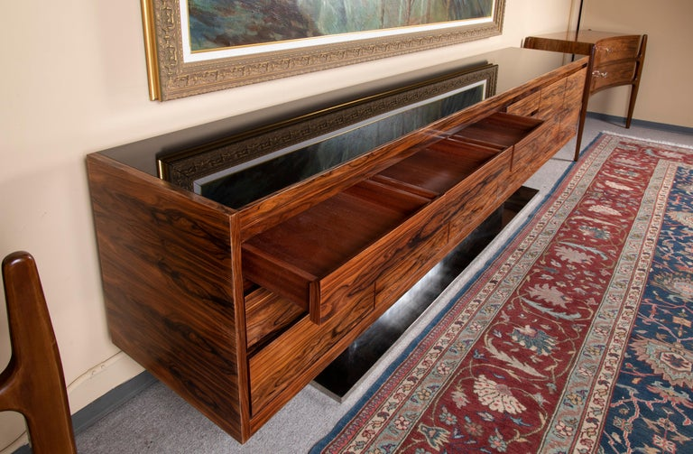 Art Deco French Sideboard in Walnut with Chrome Base For Sale 1