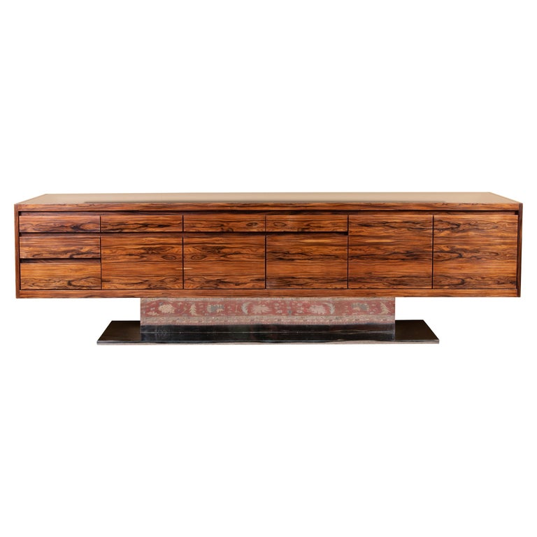 Art Deco French Sideboard in Walnut with Chrome Base For Sale