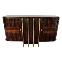 Art Deco French Sideboard with 4 Brass Vertical Lines in Macassar