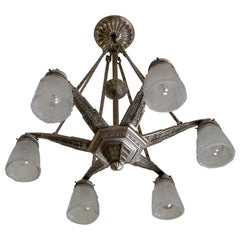 Art Deco French Star Chandelier Attributed to Hettier Vincent