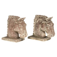 Art Deco French Stone Horse Heads