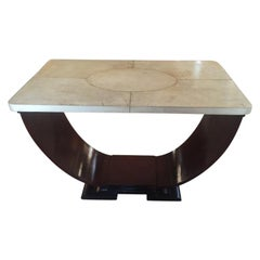 Art Deco French Table in Parchment Rosewood and Ebonized Wood, 1930