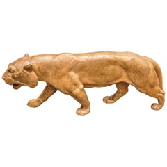 Art-Deco French Terracotta Brown Lioness Sculpture, 1930