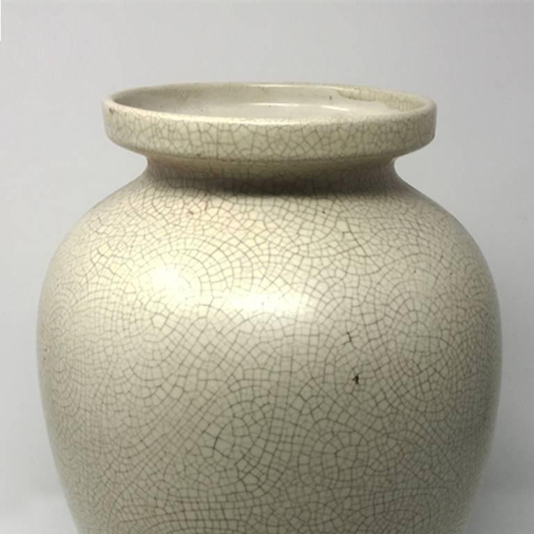 Italian Art Deco French Vase in Craquelè, 1930s For Sale