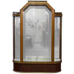 Art Deco French Vitrine in Burl Walnut