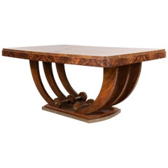 Art Deco French Walnut Dining Table with a U-base