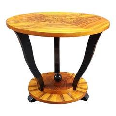 Art Deco French Walnut Gueridon Small Table, 1930s