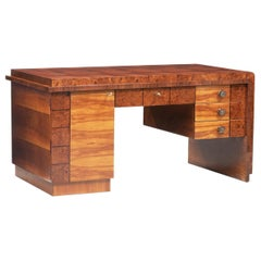 Art Deco French Walnut Root Veneer Desk
