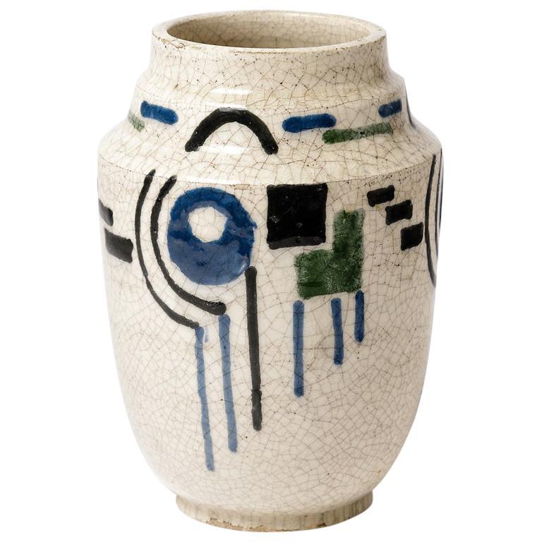 Art Deco French White and Blue Cubist Ceramic Vase, circa 1930
