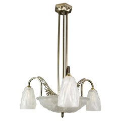 Art Deco Frosted Glass and Bronze Chandelier by Francis Hubens and Degué, 1930s