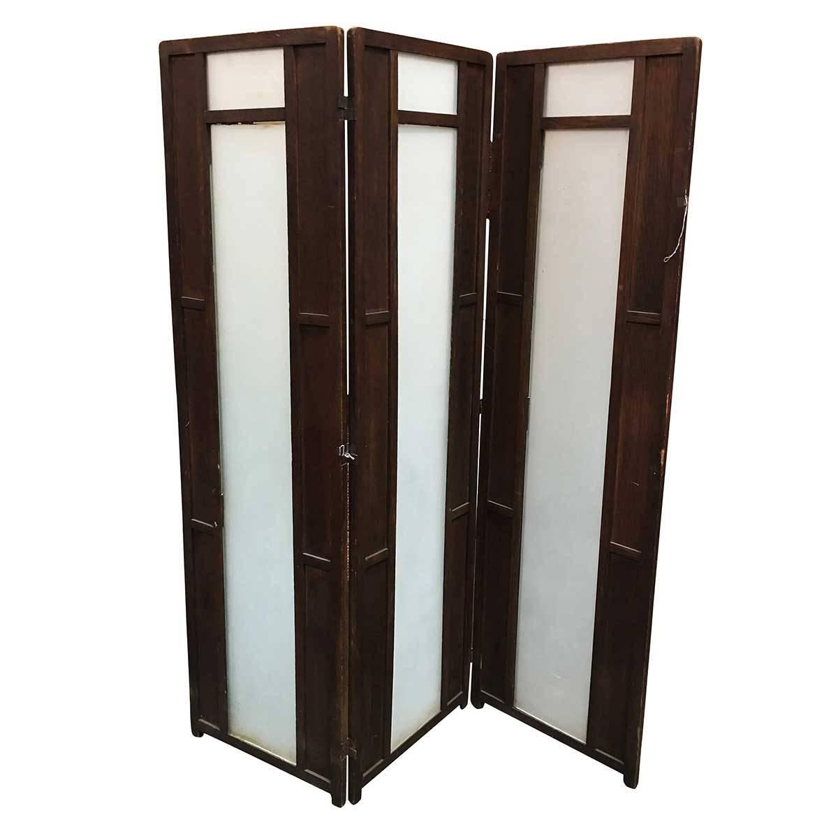 Art Deco Frosted Glass and Oak Slat Folding Screen Room Divider