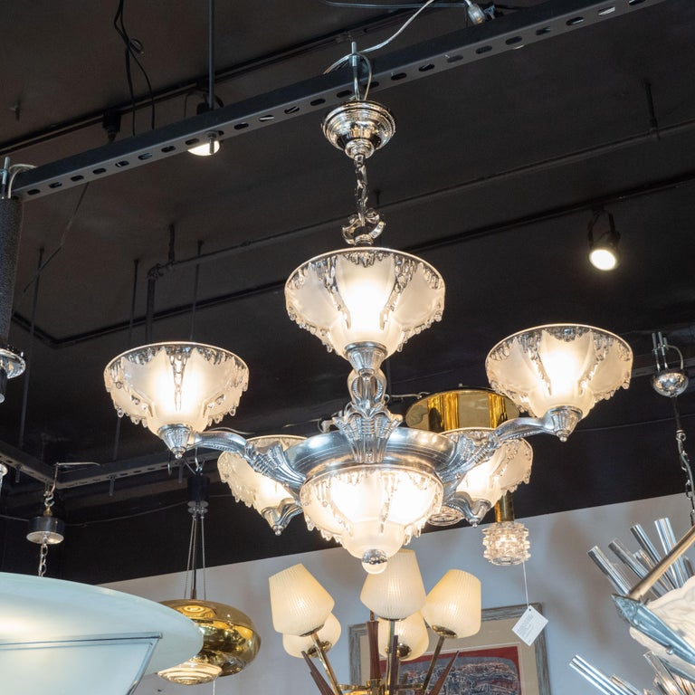 Art Deco Frosted Glass Chandelier with Silvered Bronze Fittings, Ezan & Petitot For Sale 6
