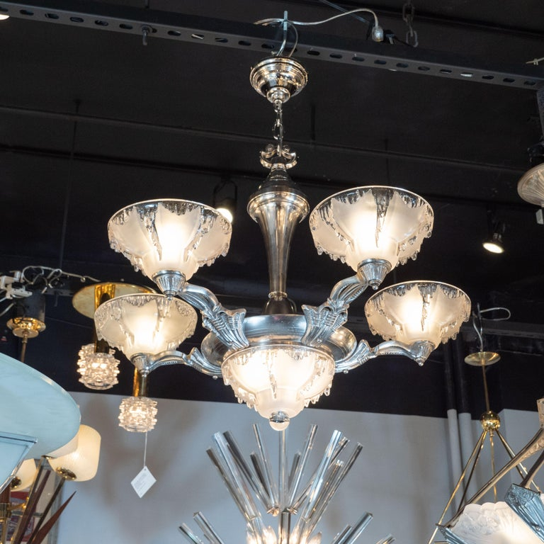 French Art Deco Frosted Glass Chandelier with Silvered Bronze Fittings, Ezan & Petitot For Sale