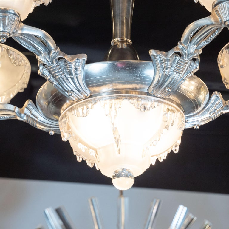 Art Deco Frosted Glass Chandelier with Silvered Bronze Fittings, Ezan & Petitot In Excellent Condition For Sale In New York, NY